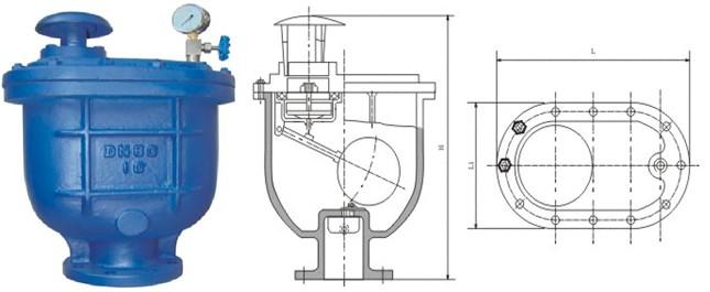 复合式排气阀主要外形及连接尺寸 : 型 号 公称通径               dn图片